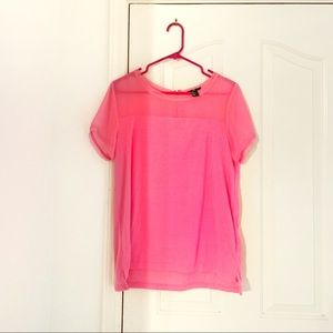 H&M Neon Pink TShirt With Back Zipper